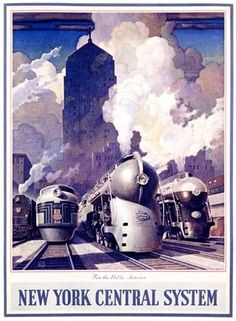 New York Central Railroad--with some powerful looking locomotives steaming ahead!