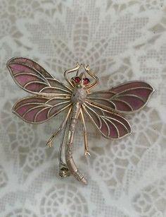 1900 Art Nouveau~MEYLE & MAYER~Plique a Jour~Dragonfly Brooch~900 Depose-Silver