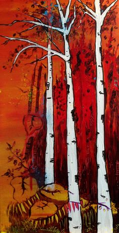 Red birch - Acrylics and photocopy transfer - Toronto 2015
