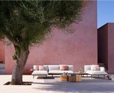 The modular Senja sofa from Tribu has a highly flexible design which can combine one, two or three-seater module with either high or low arms. Timber Panelling, Timber Cladding, Exterior Cladding, Wall Cladding, Wall Panelling, Outdoor Sofa, Outdoor Spaces, Outdoor Living, Outdoor Decor