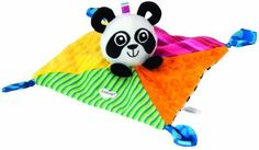 Lamaze High-Contrast Panda Blankie by TOMY. $8.85. Rattle. 100% Polyester Fiber. Looped ears are great for tugging & pulling. Soft blankie with satin knotties. From the Manufacturer                The perfect size for baby's little hands, the Lamaze Panda Blankie is part soft blanket and part activity toy. Featuring a cute and cuddly Panda, baby will love the blankie's rattle, crinkle, various textures and knottie silk corners, which are great for chewing. The Panda's loop...