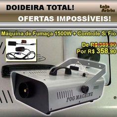 DOIDEIRA TOTAL! OFERTAS IMPOSSÍVEIS! Máquina de Fumaça 1500W + Controle S/ Fio - De R$ 389,90 Por apenas R$ 358,90 em http://www.aririu.com.br/maquina-de-fumaca-1500w-15-litros-controle-remoto-sem-fio_81xJM