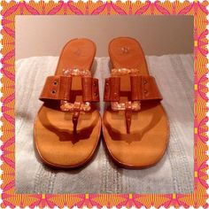 """Burst of Spring Slipons Great pair of sunburst orange thong sandals. Heel is 2"""" and they are in excellent shape. Life Stride Shoes Sandals"""