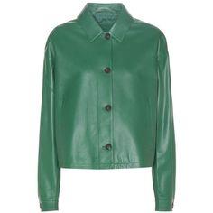 Prada Leather Jacket (€2.260) ❤ liked on Polyvore featuring outerwear, jackets, green, prada, green jacket, genuine leather jackets, green leather jacket and 100 leather jacket