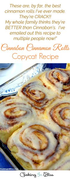 Cinnabon Cinnamon Rolls Copycat Recipe These are, by far, the best cinnamon rolls I've ever made. They're CRACK! My whole family thinks they're BETTER than Cinnabon's. Cinnamon Rolls Without Yeast, Best Cinnamon Rolls, Brunch Recipes, Breakfast Recipes, Breakfast Dishes, Sweet Recipes, Cinnabon Rolls, Copy Cat Cinnabon Cinnamon Rolls, Fun Desserts
