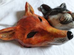 Papier paper mache fox mask from Bramberges muiza park. $48.00, via Etsy.