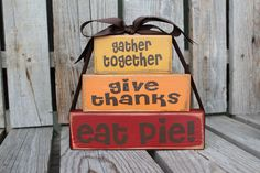 Fall Autumn Thanksgiving  Give Thanks Stacker Wood Block Set Primitive Fall Autumn table Thanksgiving Gift Country Wood Sign via Etsy
