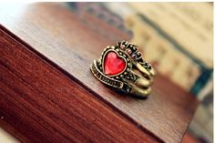 Retro Style Three-Piece Set Heart Crown or Letter Print Shape Rhinestone Embellished Finger Ring