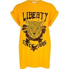 Orange Liberty tiger print oversized t-shirt - print t-shirts / tanks - t shirts / tanks / sweats - women