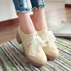 #AdoreWe #YesStyle Sidewalk Block Heel Lace-Up Shoes - AdoreWe.com