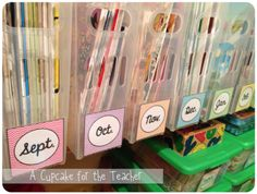 organizing class read-aloud books with containers from the Container Store and month labels