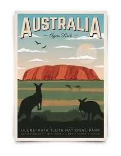 Ayers Rock Australia, South Australia, Posters Australia, Wall Art Prints, Poster Prints, Poster City, Art Deco Posters, Vintage Wall Art, Vintage Ski