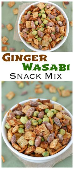 This addictive Asian snack mix is crunchy, spicy and packed with Wasabi & Soy Sauce almonds, chow mein noodles and wasabi peas!