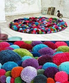 colourful pom pom floor rug