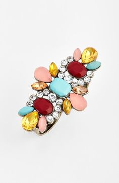 Such a pretty mint stone and pink crystal statement ring.