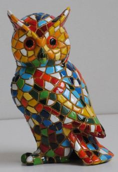 Colourful hand-painted Barcino owl ornament