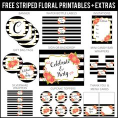Free Floral Striped Party Printables and more | PURE PRINTABLES