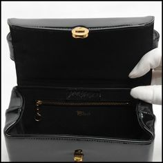 Vintage handbag - Charming  BLOCK vintage piano black patent leather box handbag, purse, bag, handbag, pocketbook, boxbag