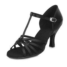 Oferta: 18.99€ Dto: -27%. Comprar Ofertas de Roeua femenino ES7-F13 el  beige satín latino la danza el zapato 37.5 barato. ¡Mira las ofertas! |  Pinterest