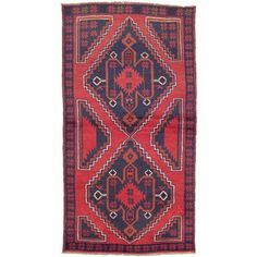 Shop for ecarpetgallery Hand-Knotted Kazak Blue, Red Wool Rug (3'5 x 6'5). Get free shipping at Overstock.com - Your Online Home Decor Outlet Store! Get 5% in rewards with Club O!