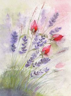 LAVENDER & ROSEBUDS fine art, Giclee Watercolour Painting Print A4. Archival quality inks