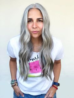 Hi, my name is Carla, I´m 46 and silver. The Right Hairstyles Magazine has posted a couple of empowe Short Hairstyles Fine, Daily Hairstyles, Latest Hairstyles, Scene Hairstyles, Gray Hairstyles, Long Silver Hair, Long Gray Hair, Long Hair Dos, Cut My Hair