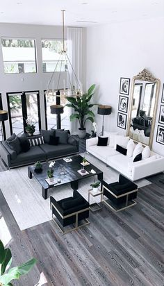 Glam Living Room, Living Room Modern, Living Room Interior, Living Room Designs, White Couch Living Room, White Couch Decor, Black Living Room Furniture, Dark Floor Living Room, Black And White Furniture