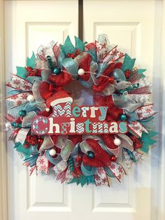 Christmas Wreath, Whimsical Christmas, Christmas Deco Mesh, Christmas Front Door, Holiday Wreath, Holiday Deco Mesh, Whimsical Wreath by PastNPresentsByAlana on Etsy https://www.etsy.com/listing/252883351/christmas-wreath-whimsical-christmas