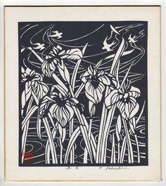 May Irises Japanese Woodblock Print by T. Fukushima. Shikishi board.