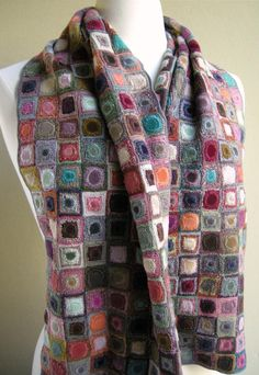 "Sophie Digard's Carre Scarf will dazzle you with its hundreds of velvet and crocheted squares within squares.... Saturated fuschia, scarlet, lavender, teal, apricot and more, soft merino wool and velvet. On my ""lottery win shopping list""!!"