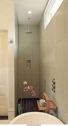 Ipé duckboards for non-slip shower floor - Wide-Open Baths for Small Spaces - Fine Homebuilding Article