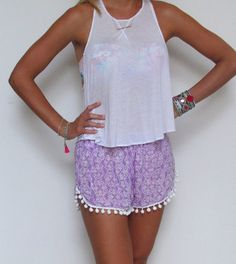 Pom Pom Shorts Lilac and White pattern with White by ljcdesignss