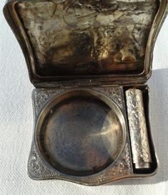 Antique Stunning .935 Sterling Silver Compact Case with Interior Lipstick Holder Hand Chased Engraved Silver Small Mini. €150.00, via Etsy.