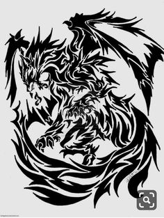 Tribal Animal Tattoos, Tribal Drawings, Tribal Dragon Tattoos, Celtic Dragon Tattoos, Tribal Animals, Dragon Tattoo Designs, Tribal Tattoo Designs, Tribal Art, Tribal Wolf