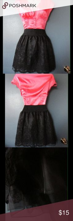 Fancy Black Embroidery Skirt W/ Waistband NWOT. This skit is adorable and versatile. Gorgeous color and design. One size. Negotiable Price. Skirts