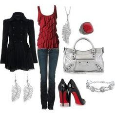 """Cute Date Night Outfit                                                   # Louboutin's   #Red #Black #Silver                                                             """"Untitled #2"""" by frankieleigh6 on Polyvore by tiquis-miquis"""