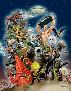 Classic B Movie Monsters - great montage art work!