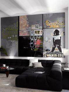Sofa Pillows Decorating Ideas Modern Living Room Design With Balck Upholstered Sectional Sofa And Graffiti Inspired Art Decor Ideas Graffiti Wall Interior Decor