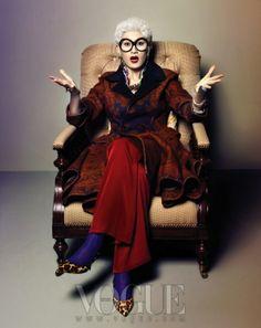 """Senior Style"": Anna Piaggi, Lynn Yaeger and Iris Apfel Impersonations; Vogue Korea Oct. 2012"
