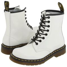 Dr. Martens 1460 (White Smooth) Lace-up Boots (€110) ❤ liked on Polyvore featuring shoes, boots, ankle booties, botas, combat boots, white leather boots, white booties, leather lace up booties and dr martens boots