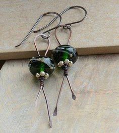 Copper Earrings with Green Lampwork Glass Beads and Czech Pearls £14.00