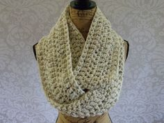 Ready To Ship Infinity Scarf Crochet Knit Large Ivory Tweed Black Brown Women's Accessories Eternity Fall Winter - pinned by pin4etsy.com