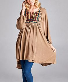 Another great find on #zulily! Mocha Notch Neck Tunic Dress - Plus #zulilyfinds