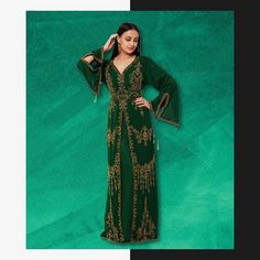 A beautiful blend of traditional and modern style, this designer Caftan Gown is the perfect ensemble for festivities and grand celebrations. Shop this outfit and more on our website. We ship worldwide! Product no: 8827 Kaftan Abaya, Caftan Dress, Designer Gowns, Party Gowns, Sari, Celebrities, Womens Fashion, Outfits, Traditional