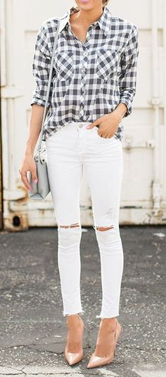Plaid shirt, white skinnies, and nude pumps.