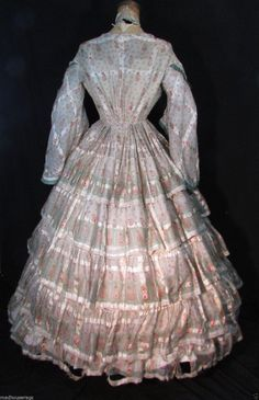 "1850s 60s Paisley Print Challis Dress | eBay seller madhouserags, sheer challis paisley print with satin strip, bodice lined in cotton, gauze lining on skirt, scattered holes, underarms are good, size: ""M"""