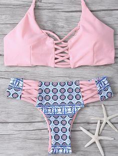Criss-Cross impresión tribal del bikini - Rosa S