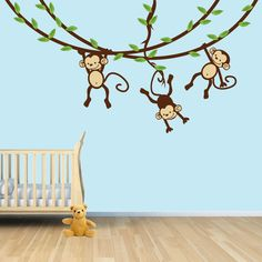 Hanging Monkey Wall Decal, Monkey Vines, Monkey Decal, Nursery Wall Decals,  Boy Monkeys, Kids Room Wall Decals, Modern Blue Design | Nursery And Babies