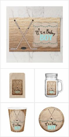 Rustic Wood And Hockey Stick Its A Boy Baby Shower Personalize these rustic custom designed baby shower products. This collection features crossed hockey sticks with a wood background. Great for a rustic, country hockey themed baby shower. #itsaboy #rustic #hockey #baby #shower