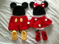 Crochet mini mouse and Micky mouse outfits